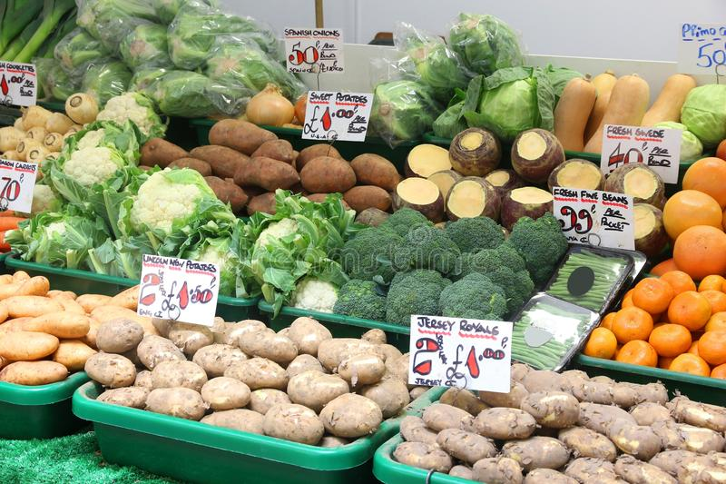 UK vegetable shop stock photo