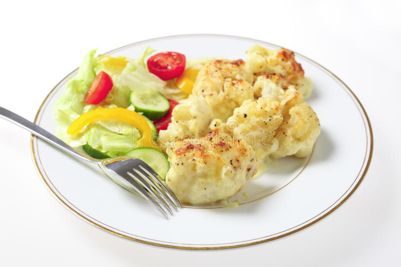 Cauliflower Cheese And Salad With Fork Stock Image
