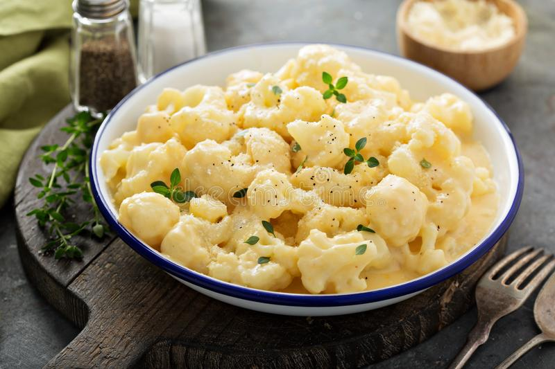 Cauliflower with cheese sauce royalty free stock photos