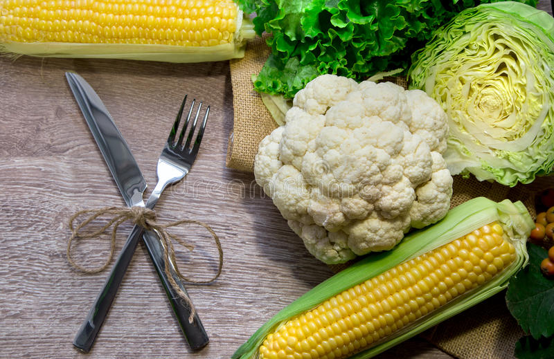 Download Cauliflower With Corn On Wood Stock Image - Image of cabbage, lettuce: 33213829