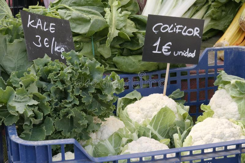 Cauliflower looks good and is worth one euro. stock photography