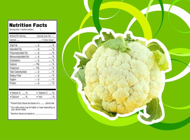 Cauliflower nutrition facts. Creative Design for cauliflower with Nutrition facts label royalty free illustration