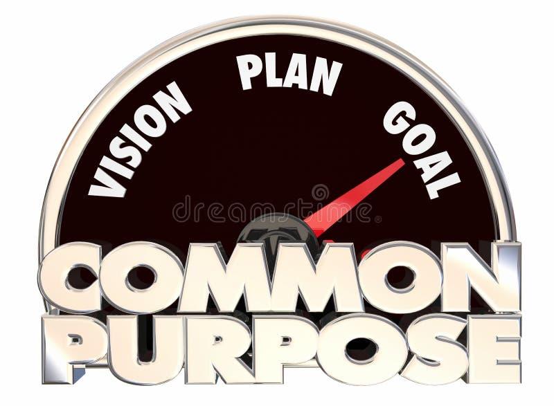 Causa comum 3d Illustratio do velocímetro do objetivo do plano da visão da finalidade ilustração do vetor