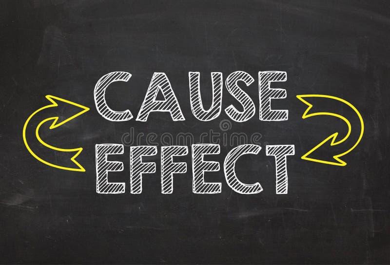 Causa del testo - e - effetto Causa - e - concetto di informazioni di effetto sul fondo della lavagna immagini stock