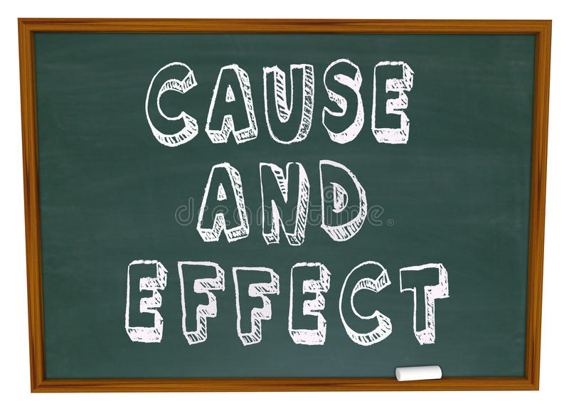 Causa - e - aprendizagem da ciência da experiência da placa de giz do efeito ilustração do vetor