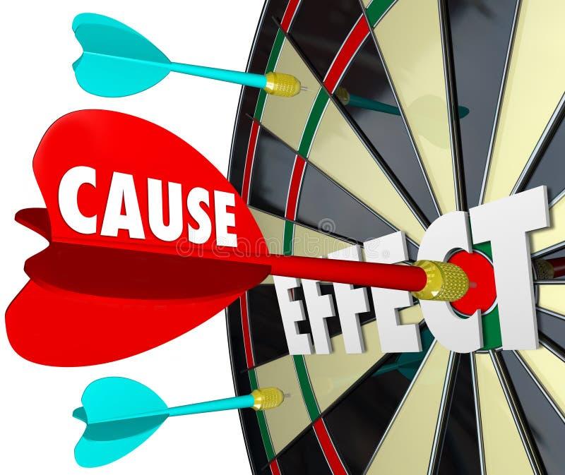 Causa - e - semelhantes da prática da placa de dardo do efeito que ganham o jogo ilustração stock