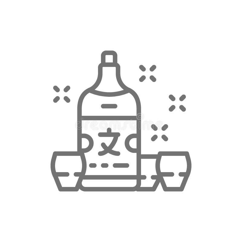 Causa japonesa, linha ícone do álcool ilustração do vetor