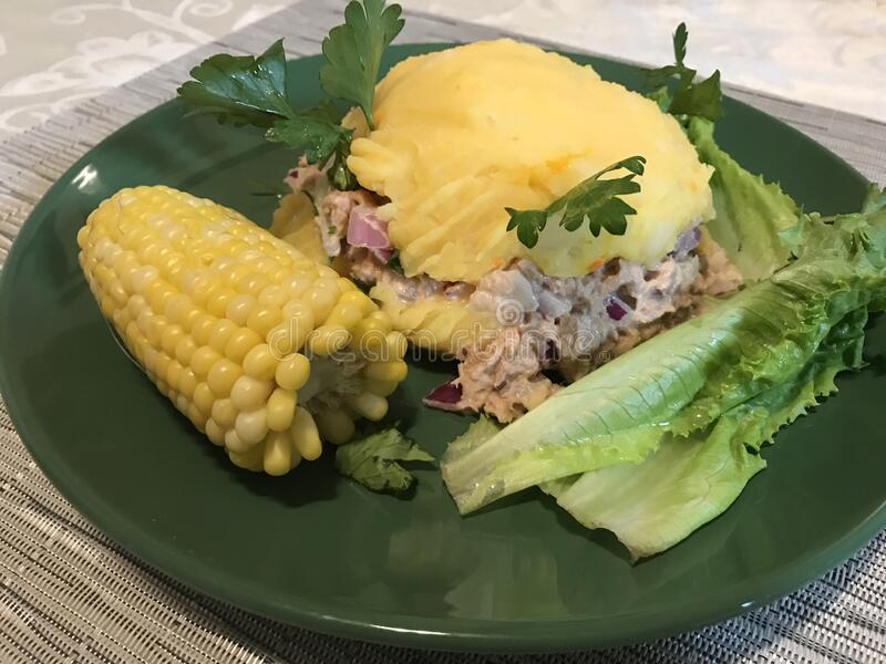 Causa rellena, a typical dish from Peru. Photo image stock images