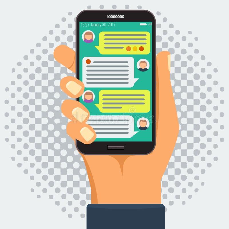 Causant avec le chatbot au téléphone intelligent, conversation en ligne illustration libre de droits