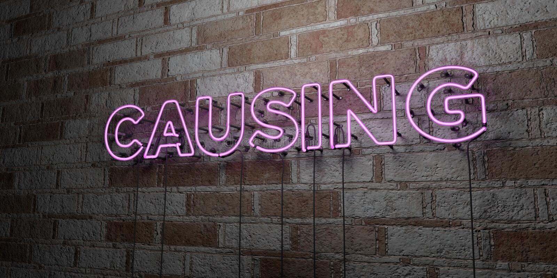 CAUSARE - Insegna al neon d'ardore sulla parete del lavoro in pietra - 3D ha reso l'illustrazione di riserva libera della sovrani illustrazione vettoriale