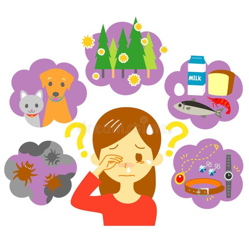 causas de la alergia stock de ilustración