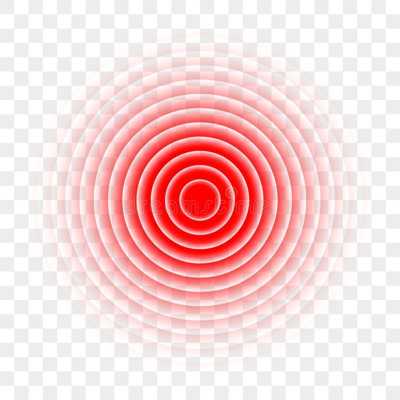Cause dor ao ícone vermelho do vetor do alvo da dor do analgésico do círculo ilustração do vetor