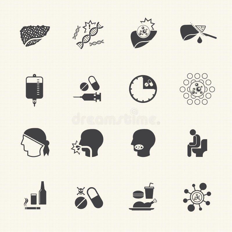 Cause et traitement de cancer de foie Les graphismes de vecteur ont placé illustration de vecteur