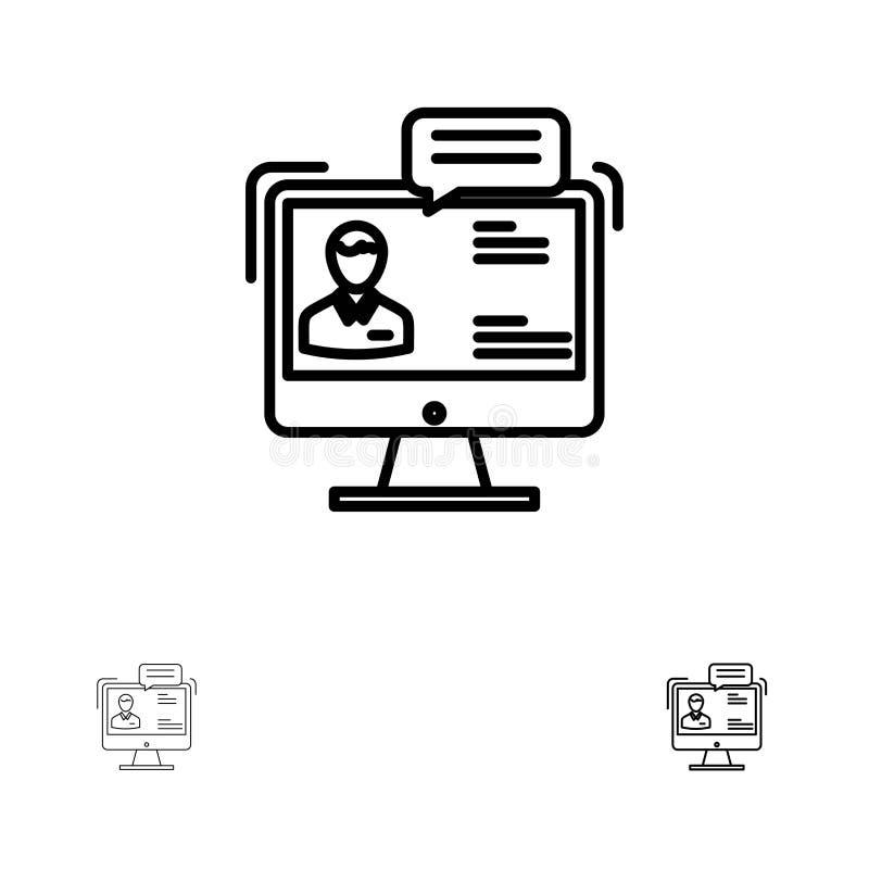 Causerie, affaires, consultation, dialogue, réunion, ligne noire audacieuse et mince en ligne ensemble d'icône illustration stock