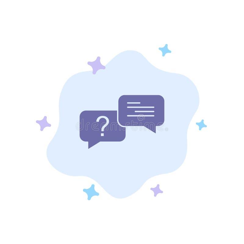 Causerie, bulle, automatique, icône bleue de message sur le fond abstrait de nuage illustration de vecteur