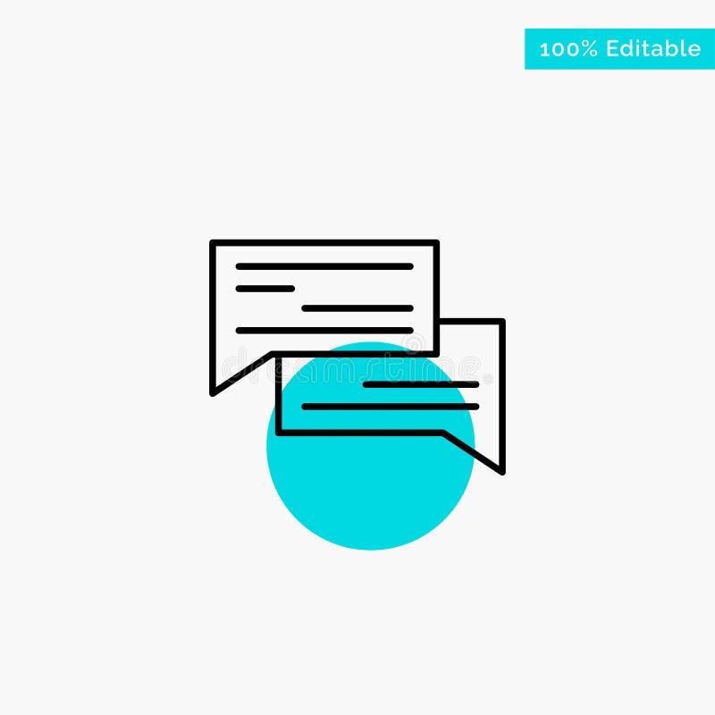 Causerie, bulle, bulles, communication, conversation, sociale, icône de vecteur de point de cercle de point culminant de turquois illustration libre de droits