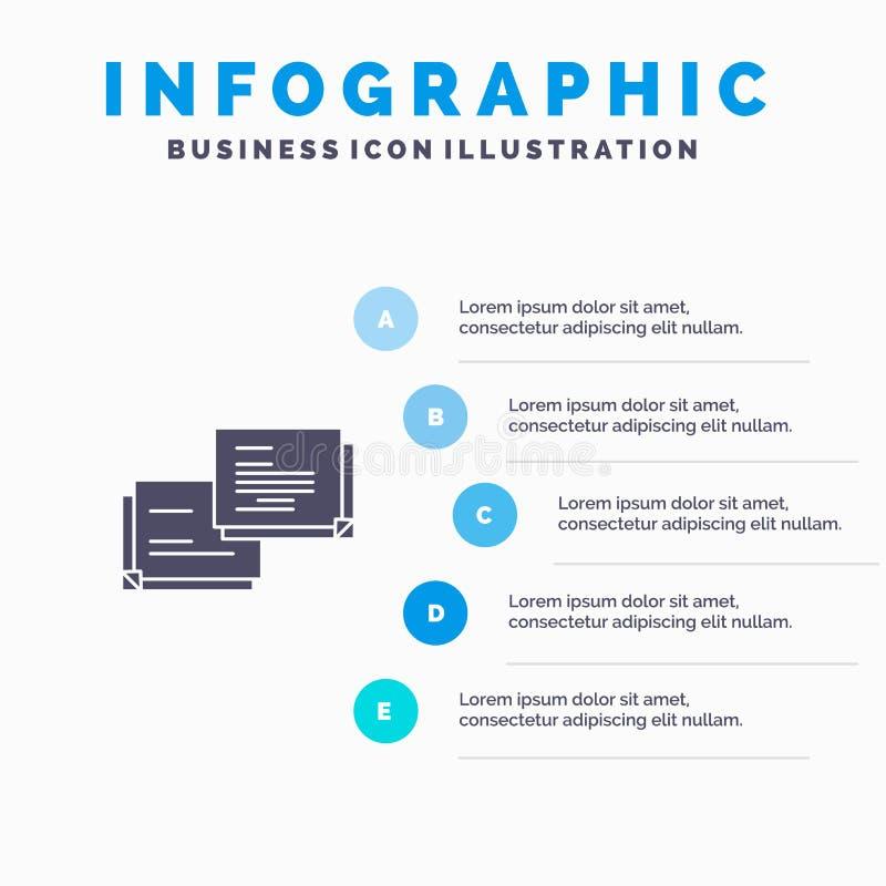 Causerie, bulle, message, fond solide automatique de présentation d'étapes d'Infographics 5 d'icône illustration stock