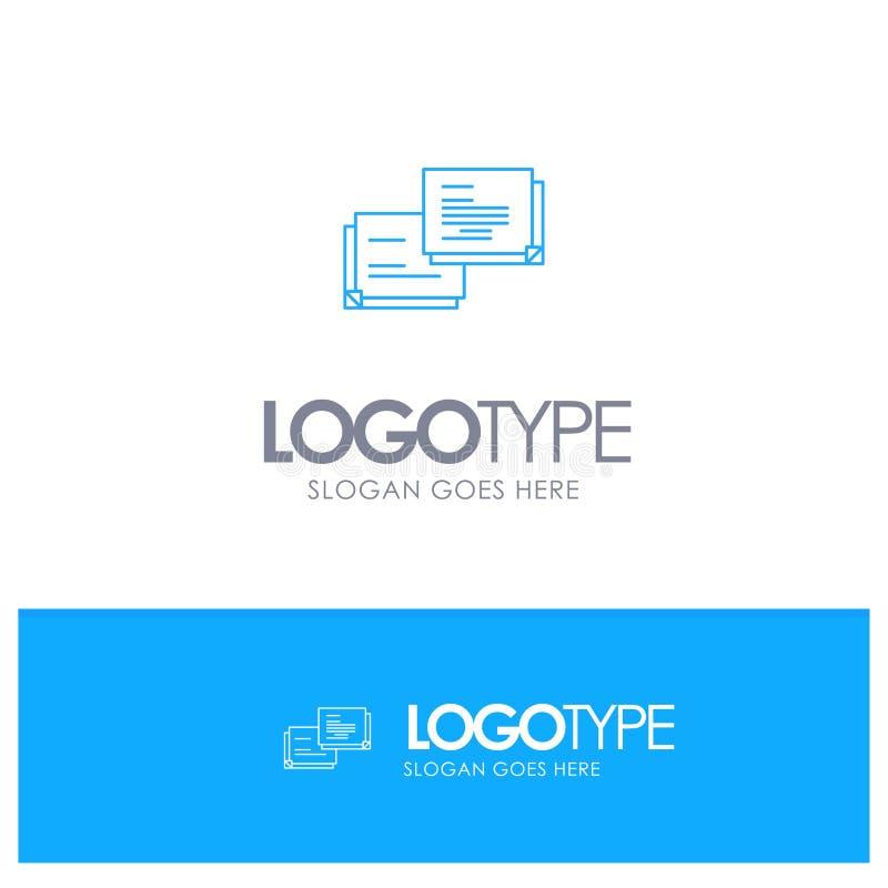 Causerie, bulle, message, logo bleu automatique d'ensemble avec l'endroit pour le tagline illustration libre de droits