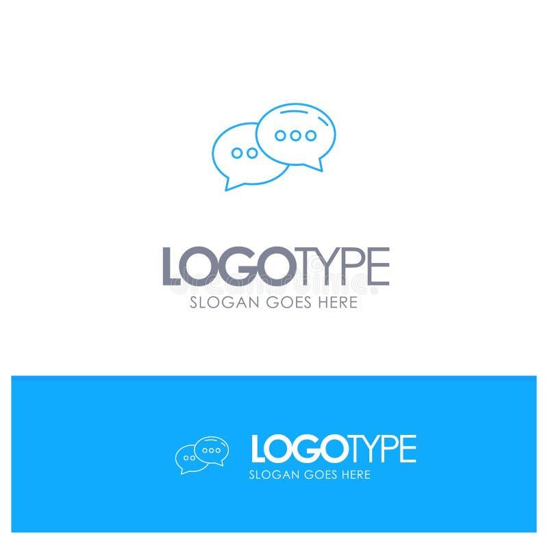 Causerie, causant, conversation, logo bleu d'ensemble de dialogue avec l'endroit pour le tagline illustration de vecteur