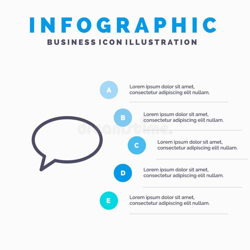 Causerie, causant, massage, ligne icône de courrier avec le fond d'infographics de présentation de 5 étapes illustration de vecteur