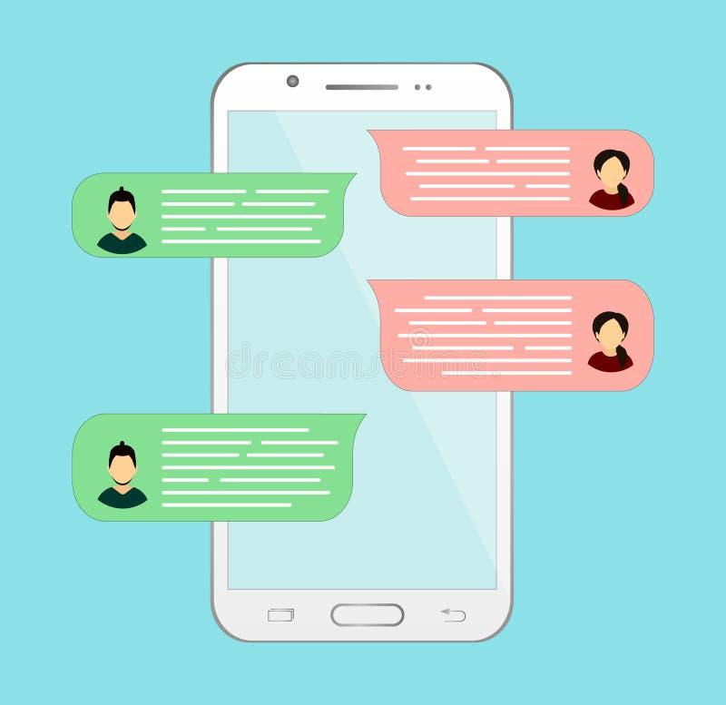 Causerie en ligne dans le téléphone Correspondance ou dialogue avec une autre personne messages illustration libre de droits