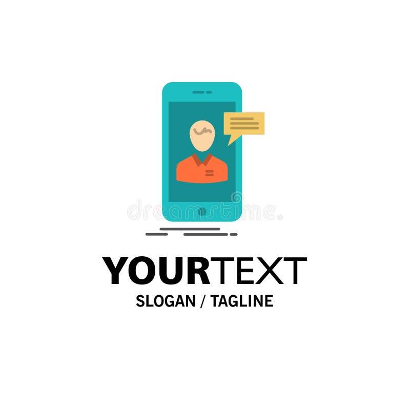 Causerie, Live Chat, réunion, mobile, affaires en ligne Logo Template de conversation couleur plate illustration de vecteur