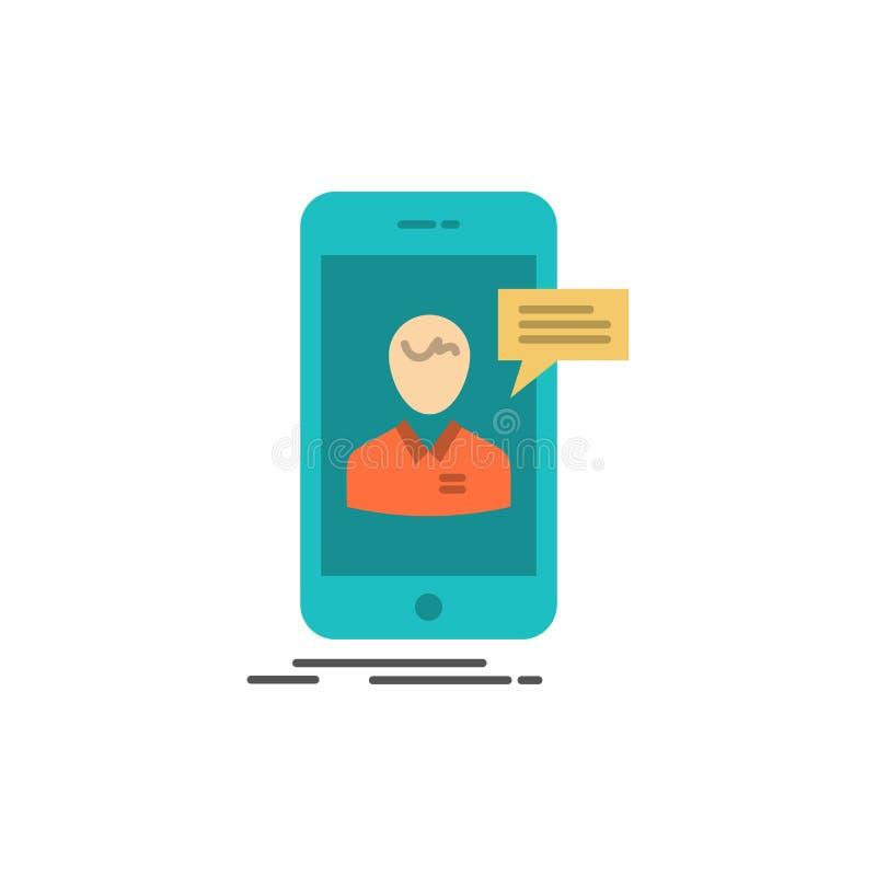 Causerie, Live Chat, réunion, mobile, icône plate de couleur de conversation en ligne Calibre de bannière d'icône de vecteur illustration de vecteur