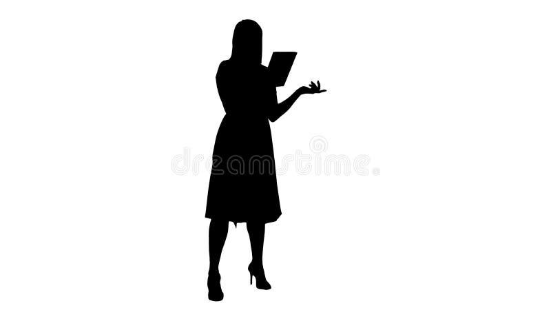 Causerie visuelle en ligne de jeune fille de silhouette sur la Tablette illustration de vecteur