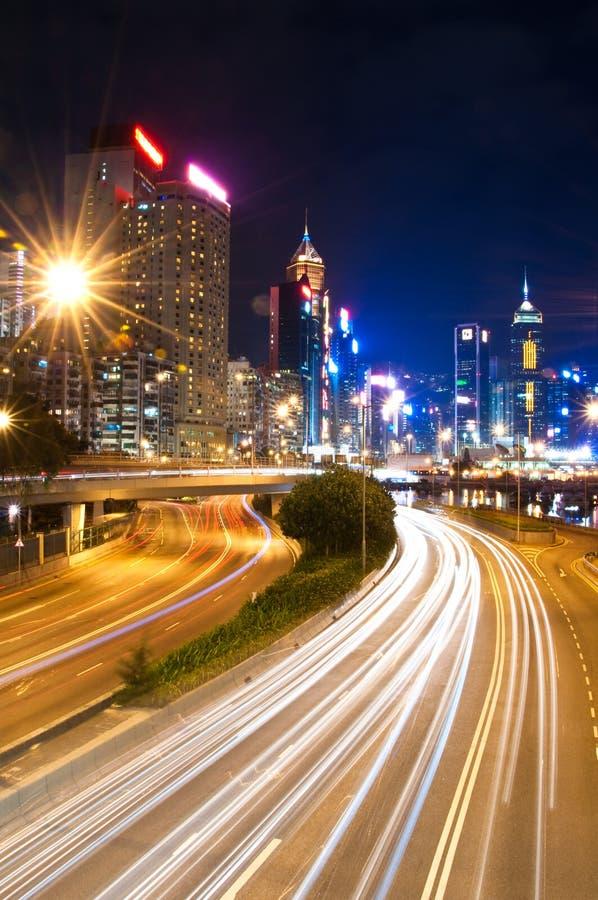 Causeway Bay, Hong Kong. Light trails along the highway through Causeway Bay, Hong Kong stock image