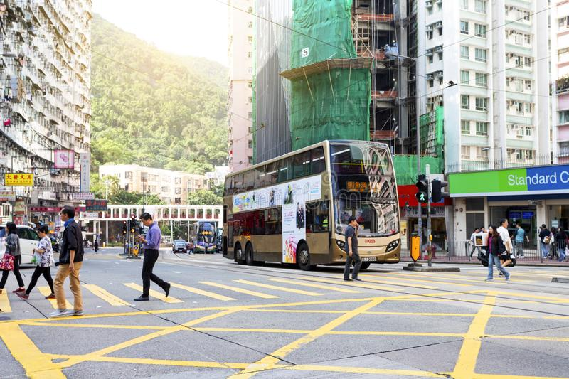 Causeway Bay, Hong Kong - 23 November 2018: Double-decker tram Trams are also a major tourist attraction and one of the best eco-. Friendly travel destinations stock image