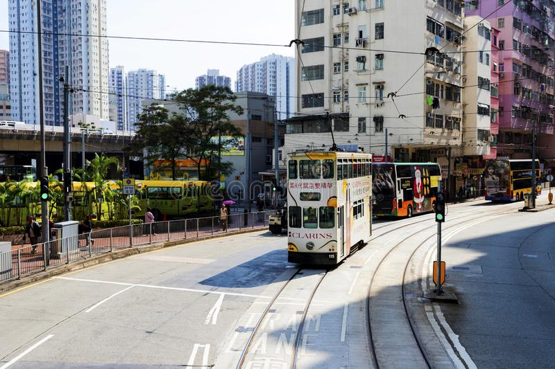 Causeway Bay, Hong Kong - 23 November 2018: Double-decker tram Trams are also a major tourist attraction and one of the best eco-. Friendly travel destinations stock photo