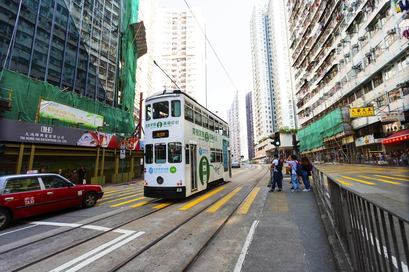 Causeway Bay, Hong Kong - 23 November 2018: Double-decker tram Trams are also a major tourist attraction and one of the best eco-. Friendly travel destinations stock images