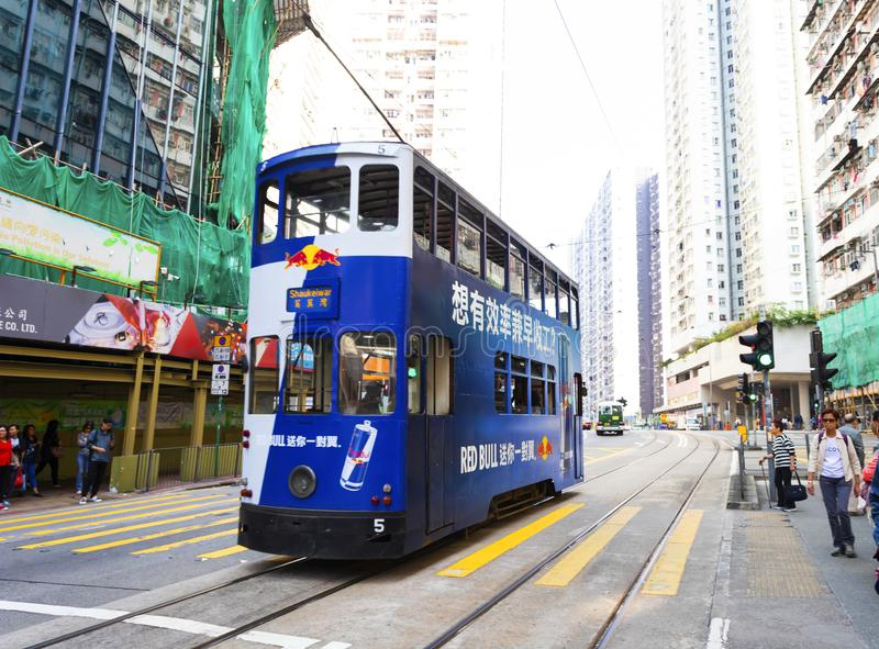 Causeway Bay, Hong Kong - 23 November 2018: Double-decker tram Trams are also a major tourist attraction and one of the best eco-. Friendly travel destinations royalty free stock photo