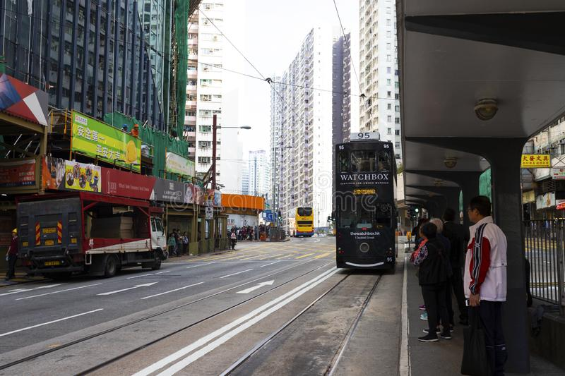 Causeway Bay, Hong Kong - 23 November 2018: Double-decker tram Trams are also a major tourist attraction and one of the best eco-. Friendly travel destinations royalty free stock photography