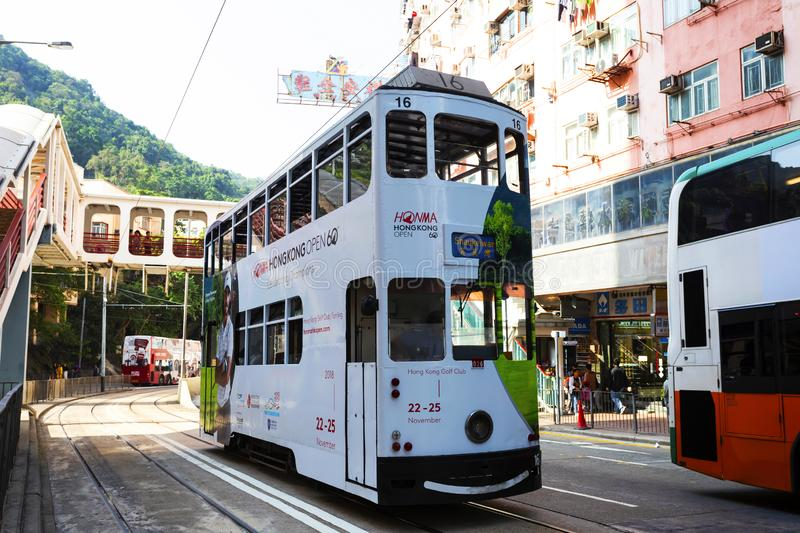 Causeway Bay, Hong Kong - 23 November 2018: Double-decker tram Trams are also a major tourist attraction and one of the best eco-. Friendly travel destinations royalty free stock photos