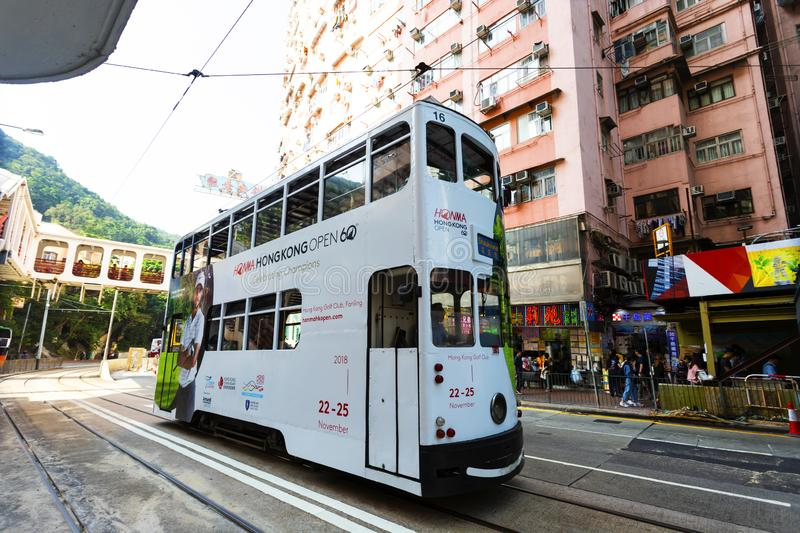 Causeway Bay, Hong Kong - 23 November 2018: Double-decker tram Trams are also a major tourist attraction and one of the best eco-. Friendly travel destinations stock photography