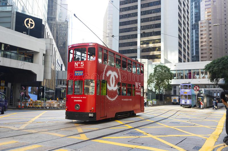 Causeway Bay, Hong Kong - 23 November 2018: Double-decker tram Trams are also a major tourist attraction and one of the best eco-. Friendly travel destinations royalty free stock image
