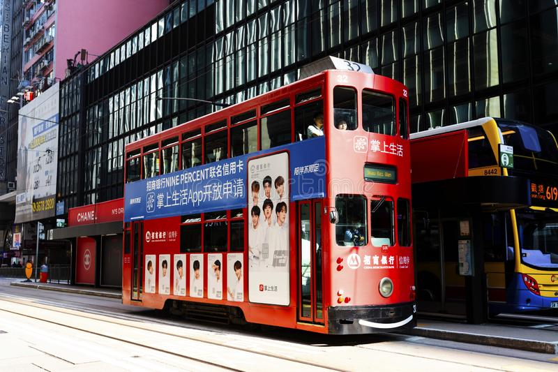 Causeway Bay, Hong Kong - 23 November 2018: Double-decker tram Trams are also a major tourist attraction and one of the best eco-. Friendly travel destinations royalty free stock images