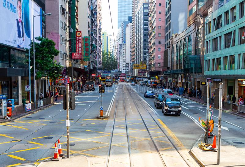 Causeway Bay, Hong Kong - 23 November 2018: Land traffic On the street in Hong Kong there are comfortable. People walking across stock image