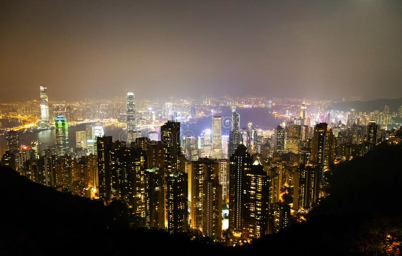 Causeway Bay, Hong Kong - 23 November 2018: Hong Kong skyline at night view from Victoria peak stock photos