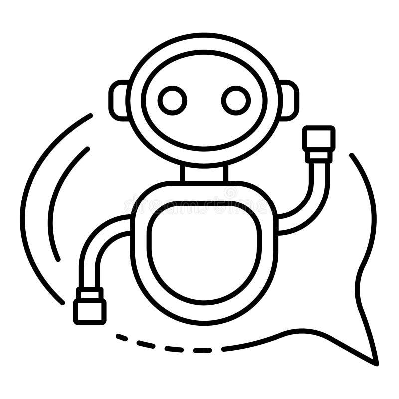 Causez le bot dans une icône de bulle, style d'ensemble illustration de vecteur