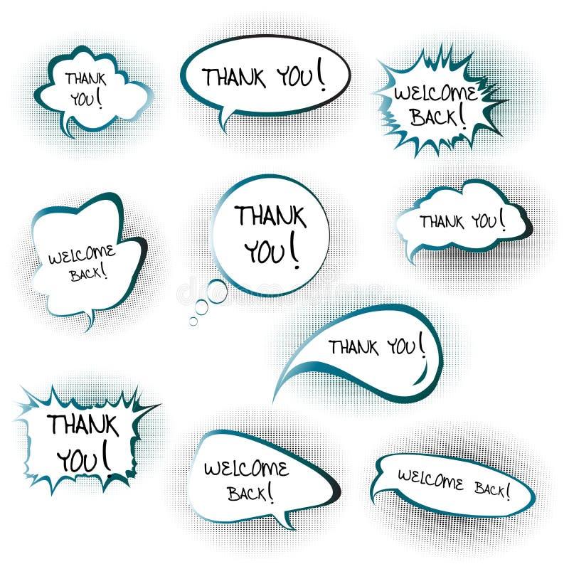 Causez les bulles avec vous remercient et font bon accueil de retour au messa illustration de vecteur