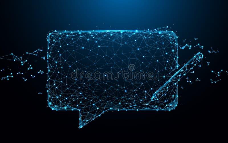 Causez les lignes de forme d'icône de messages, les triangles et la conception de style de particules illustration stock