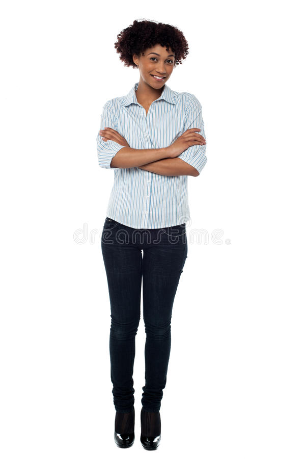 Causual Smiling Woman With Folded Arms Royalty Free Stock Image