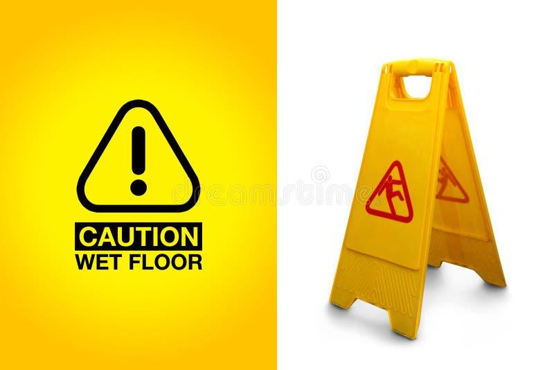 Cautela! Pavimento bagnato immagine stock