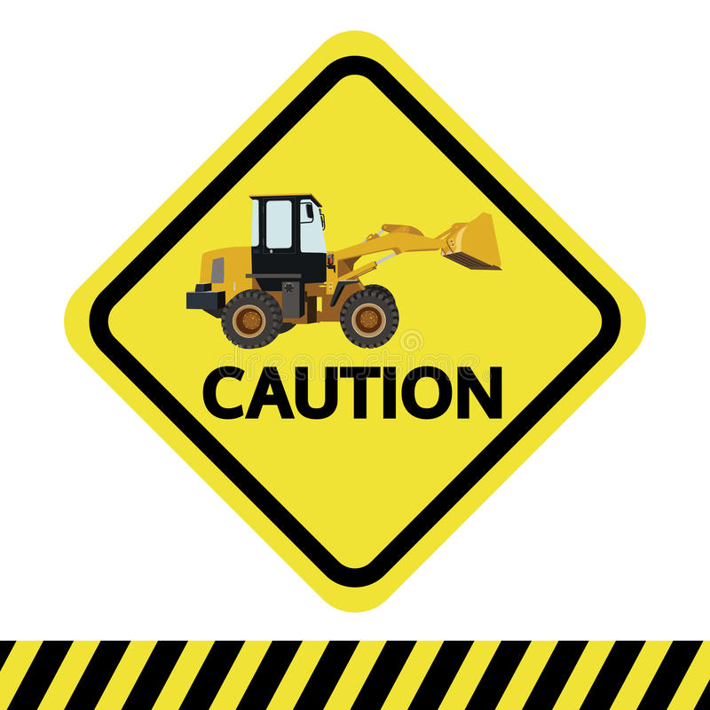 Caution with backhoe vector sign. Caution with backhoe, vector sign royalty free illustration