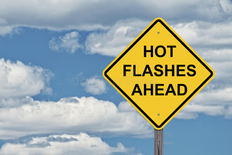 Caution Blue Sky Background - Hot Flashes Ahead. Caution Sign Sky Background - Hot Flashes Ahead stock photography