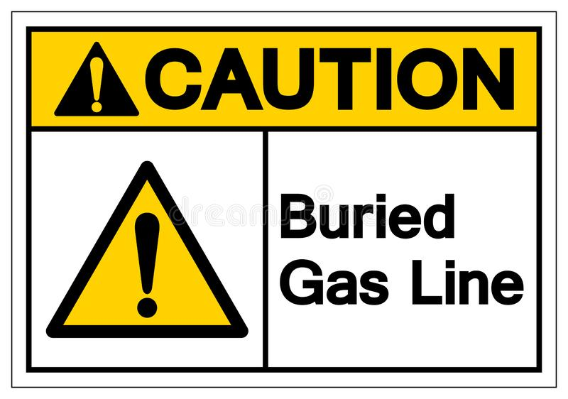 Caution Buried Gas Line Symbol Sign , Vector Illustration, Isolate On White Background Label. EPS10 royalty free illustration