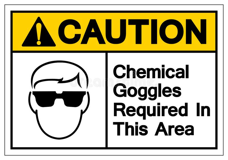 Caution Chemical Goggles Required In This Area Symbol Sign, Vector Illustration, Isolate On White Background Label. EPS10 stock illustration