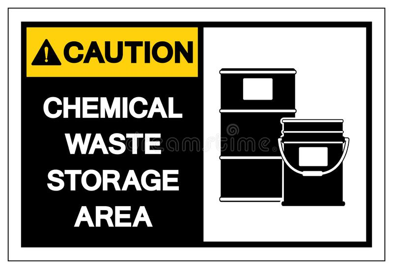 Caution Chemical Waste Storage Area Symbol Sign ,Vector Illustration, Isolate On White Background Label. EPS10 royalty free illustration